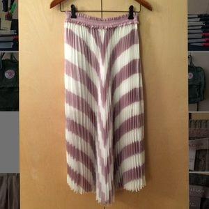 Maje Joro sz 1 Pleated Striped Midi Skirt Lilac